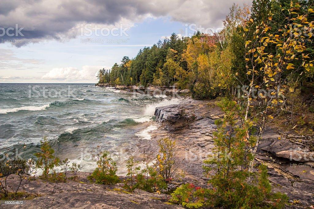 Waves On The Rocky Coast Of Lake Superior stock photo