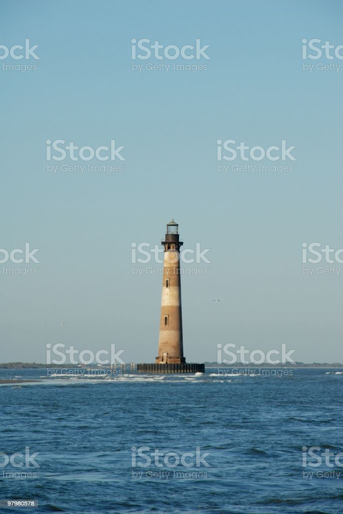 Waves roll past Morris Island Lighthouse near Charleston royalty-free stock photo