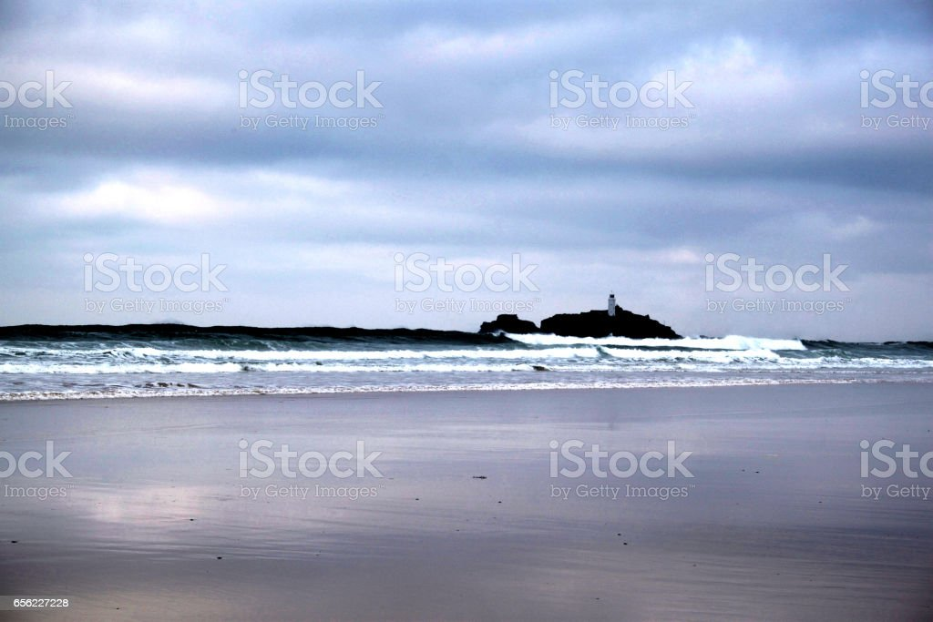 Waves rolling into Gwithian Beach stock photo