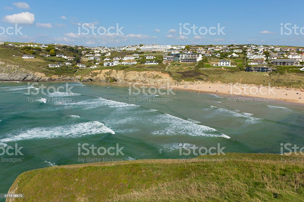 Waves surf and beach Mawgan Porth north Cornwall near Newquay stock photo