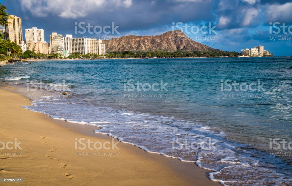 Waves upon an Empty Beach stock photo