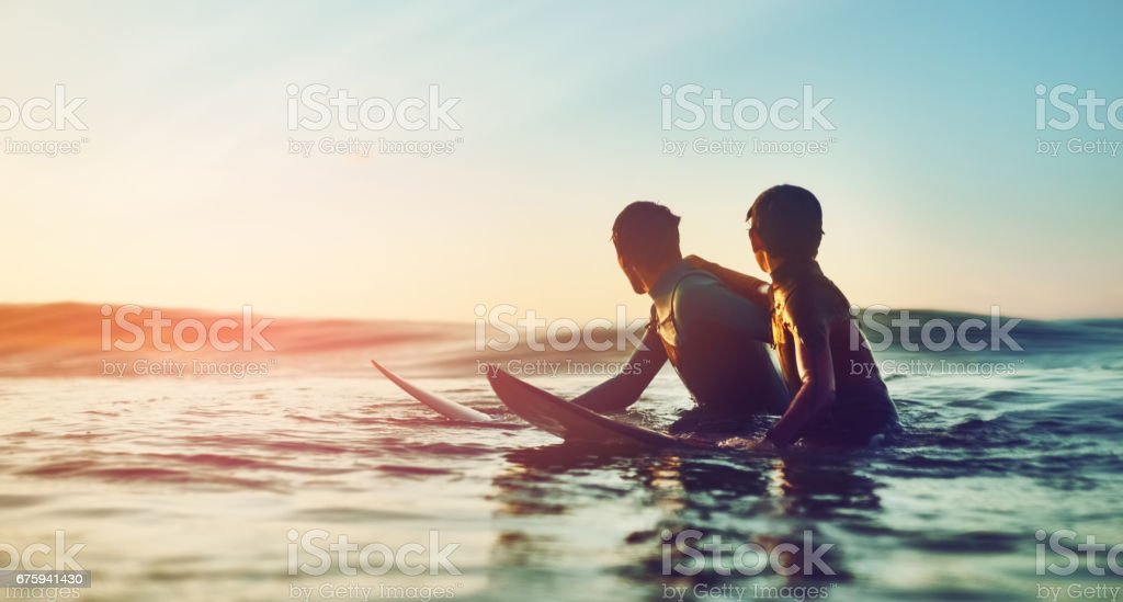 Waves were cooking and kids were ripping stock photo