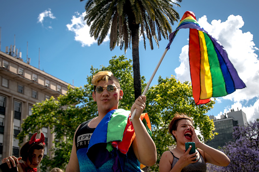 Waving a rainbow flag, a young man stands in Plaza De Mayo during Gay Pride 2017.
