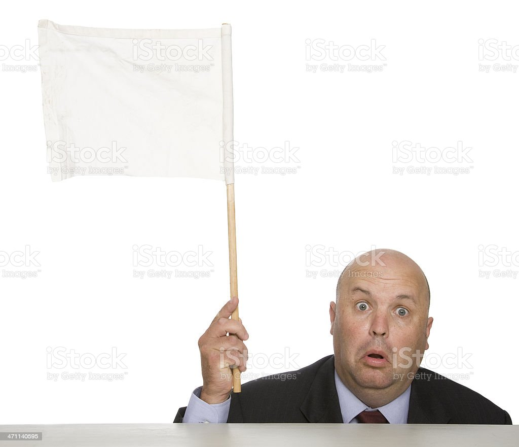 Waving a white flag to show a man defeated royalty-free stock photo