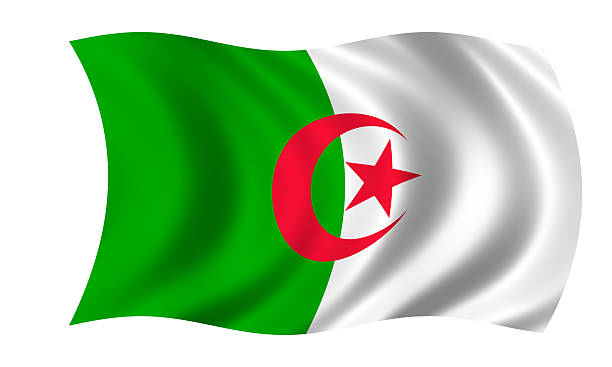 waving algerian flag in wind - algeria stock photos and pictures