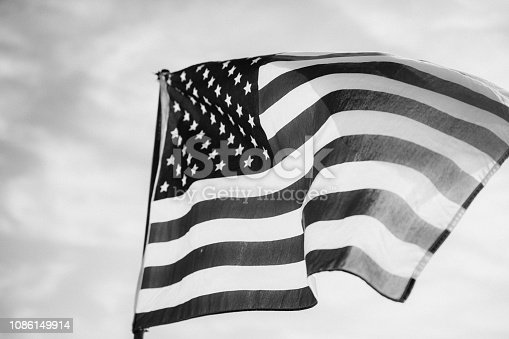 istock Waving American Flag in Black and White 1086149914