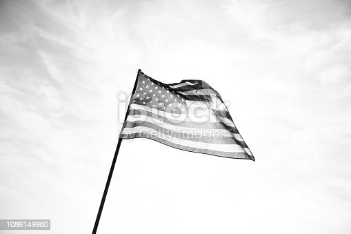 istock Waving American Flag in Black and White 1086149980