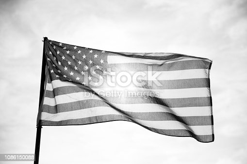 istock Waving American Flag in Black and White 1086150088