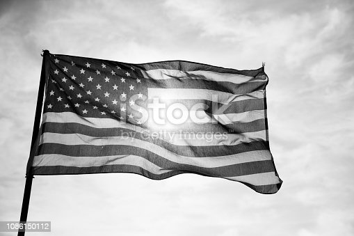 istock Waving American Flag in Black and White 1086150112