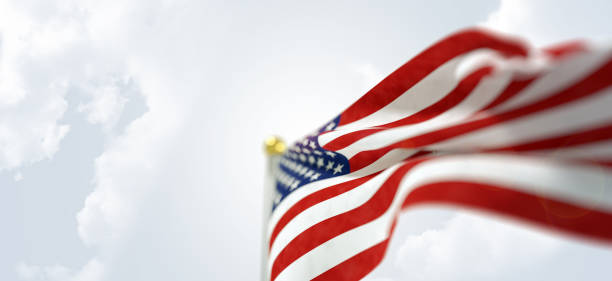 waving american flag - memorial day stock pictures, royalty-free photos & images
