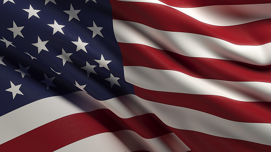 High quality 3d render of a waving American flag. Front view wirh copy space. Clipping path is included. Great use for American politics and American culture related concepts. Horizontal composition.