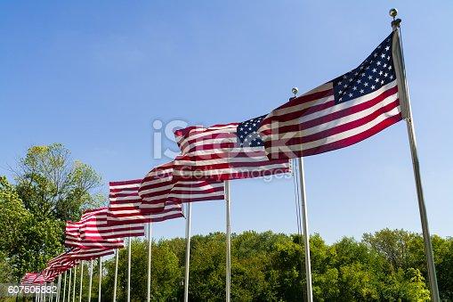 istock Waving American Flags. 607505882