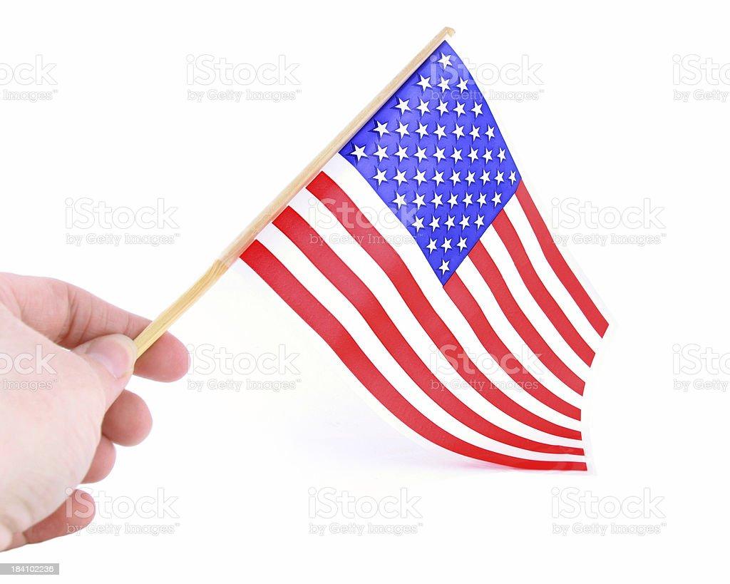 Waving an American Flag royalty-free stock photo