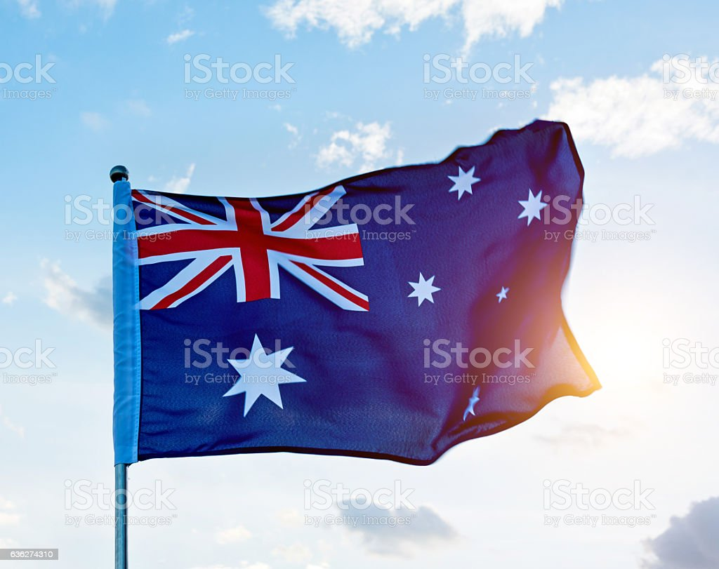 Waving Australia flag stock photo