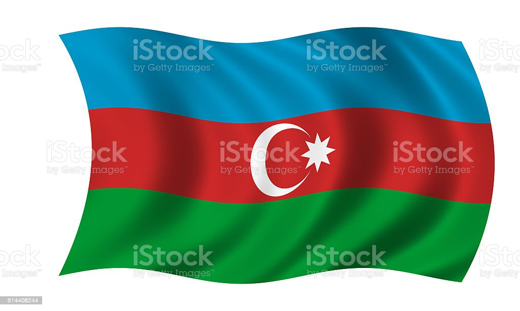 waving azerbaijan flag in wind stock photo
