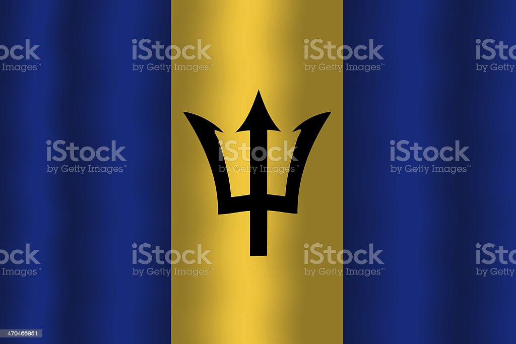 Waving Barbados Flag royalty-free stock photo