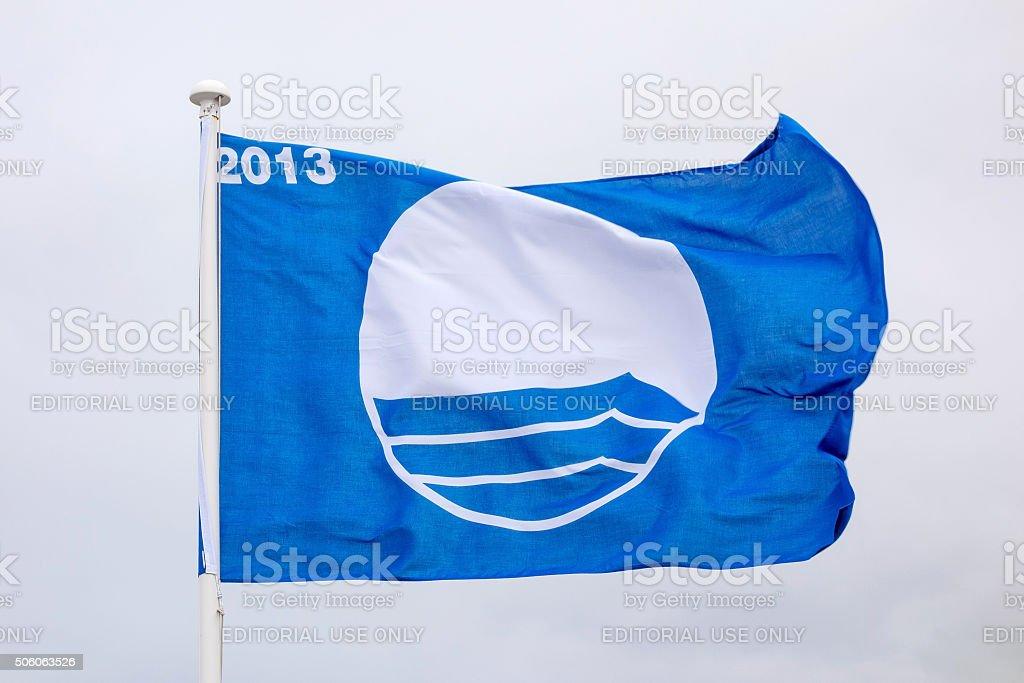 Waving blue flag stock photo