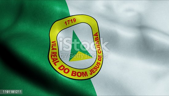 istock 3D Waving Brazil City Flag of Cuiaba Closeup View 1191181211