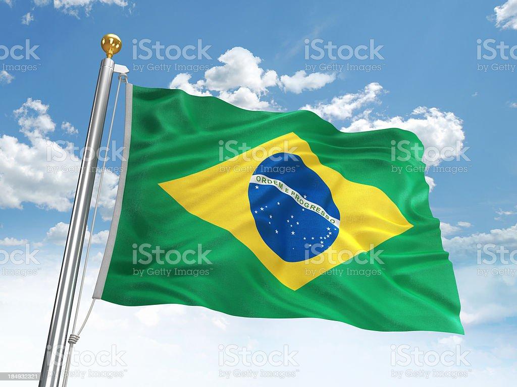 Acenando a bandeira do Brasil - foto de acervo