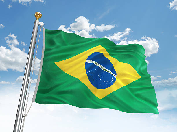 Waving Brazil flag stock photo