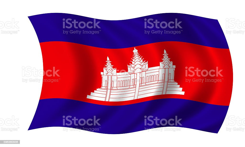 waving cambodian flag in wind royalty-free stock photo