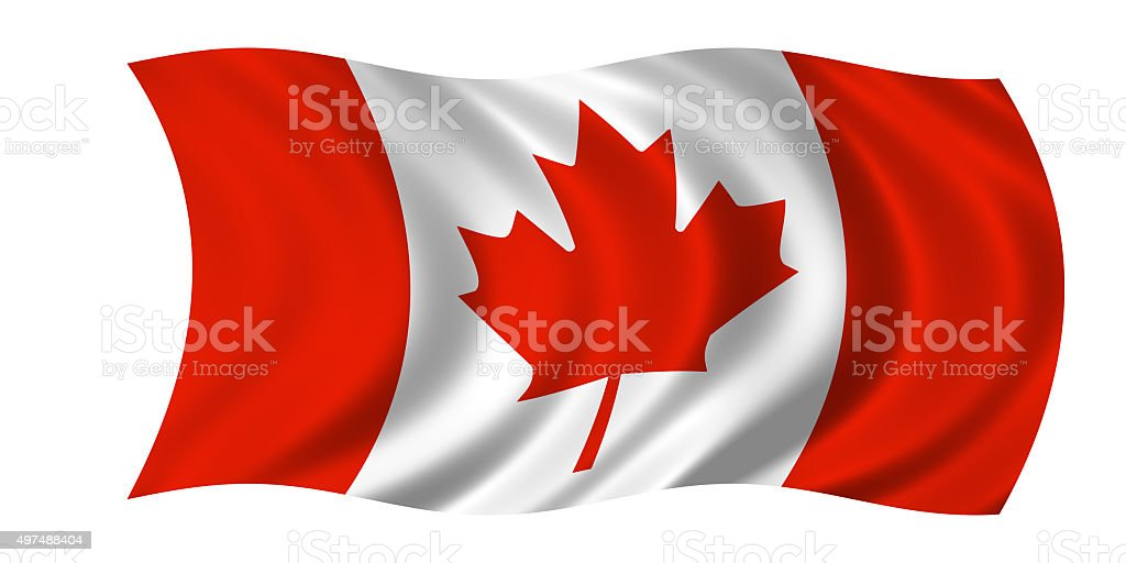 waving canadian flag stock photo