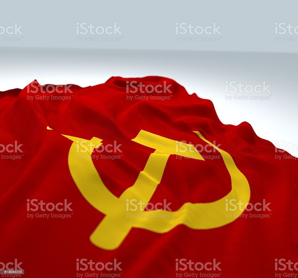 Waving communist Flag stock photo