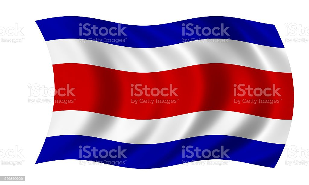 waving costa rican flag in wind royalty-free stock photo