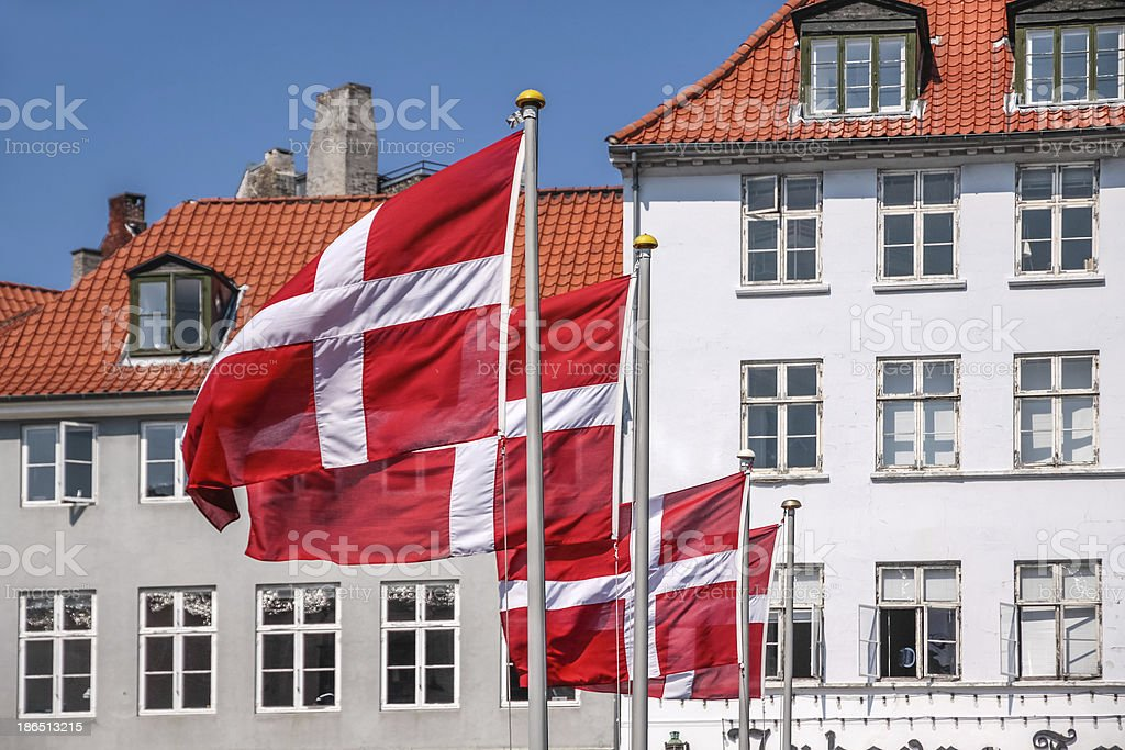 Waving Danish flag royalty-free stock photo