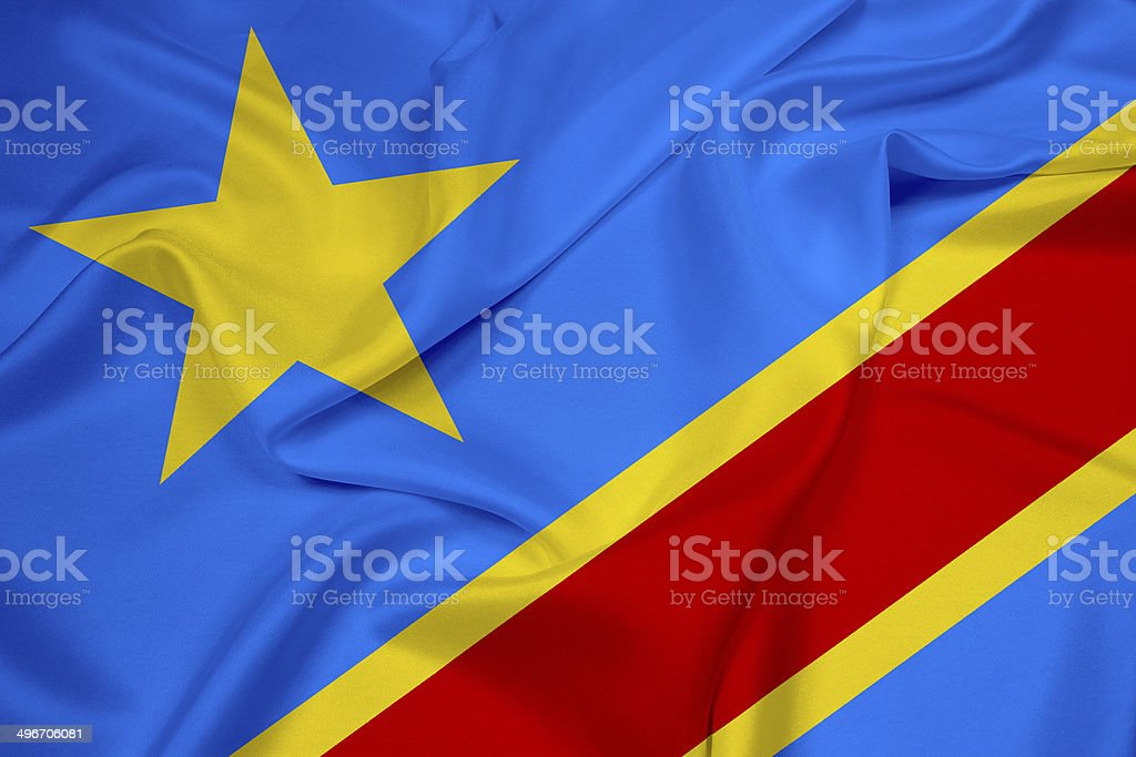 Waving Democratic Republic of the Congo Flag stock photo