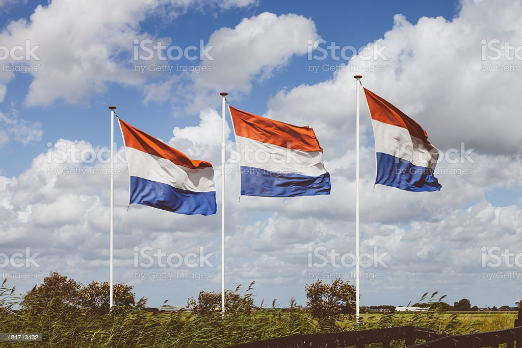 Agitando holandés flags en windy día nublado - foto de stock