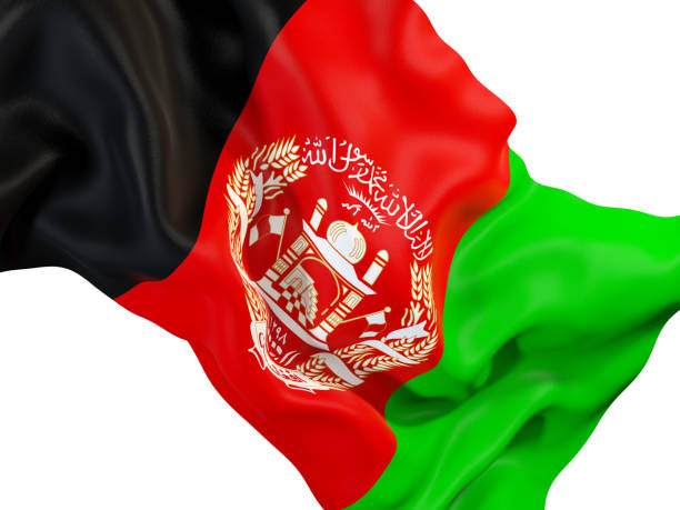 Waving flag of afghanistan stock photo