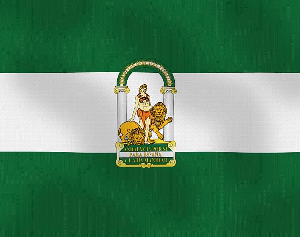 agitando bandera de andalucía, españa serie - andalusian flag fotografías e imágenes de stock