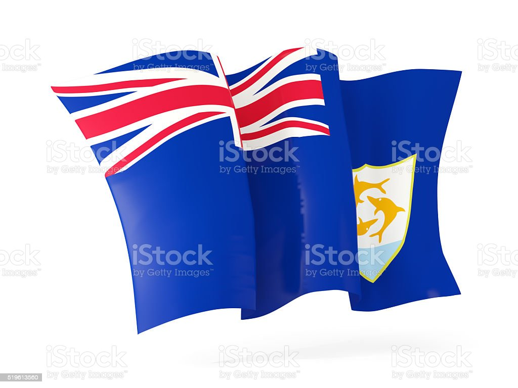 Waving flag of anguilla. 3D illustration stock photo