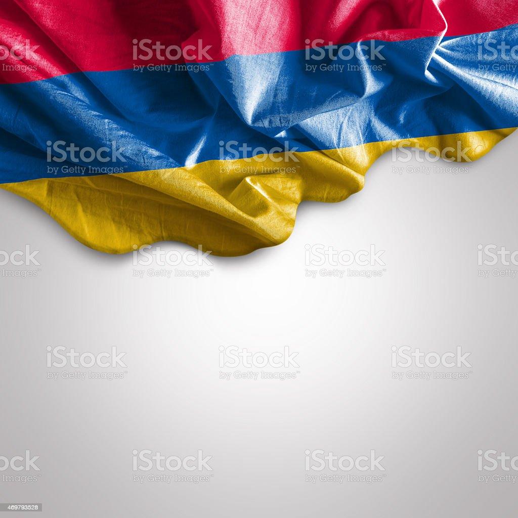 Waving flag of Armenia stock photo