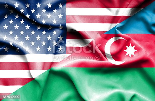istock Waving flag of Azerbajan and USA 657942990