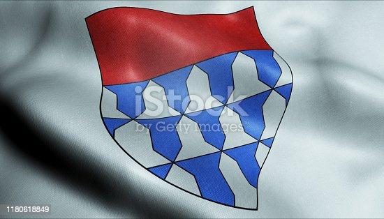 3D waving Canada city flag of Baie Urfe