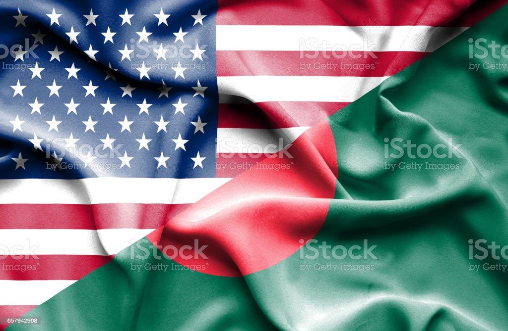 Bandera de Bangladesh y Estados Unidos - foto de stock