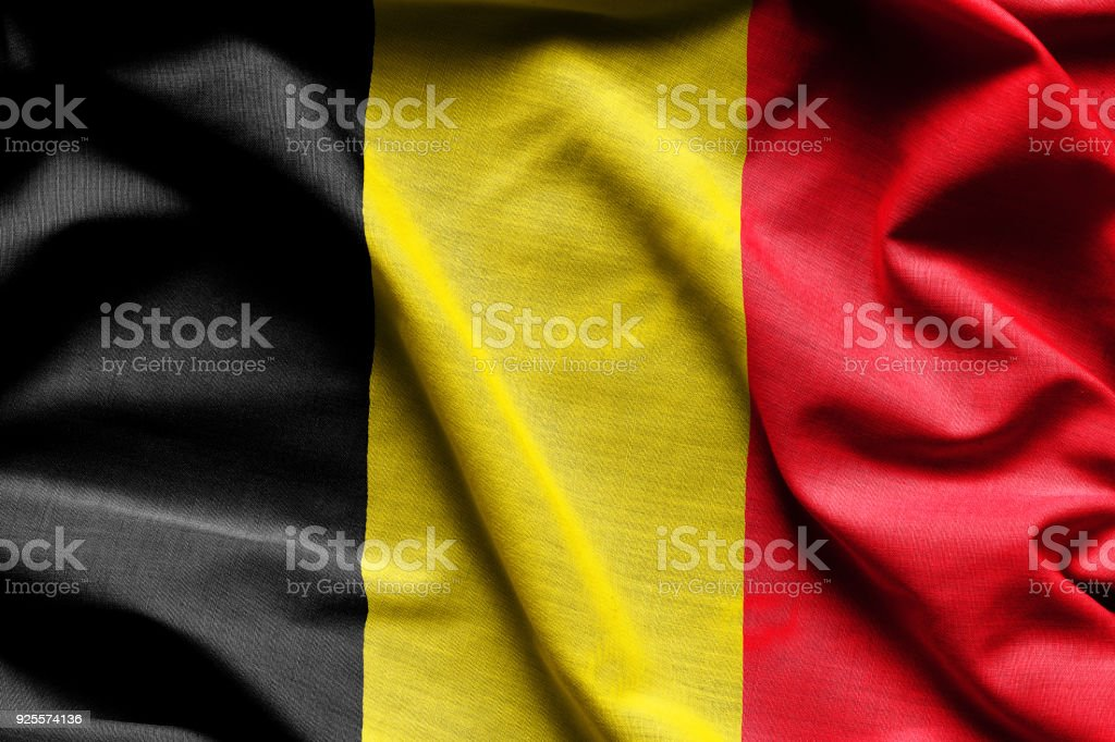 Waving flag of Belgium stock photo