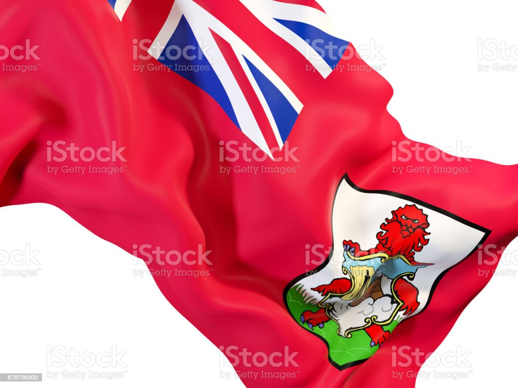 Waving flag of bermuda stock photo