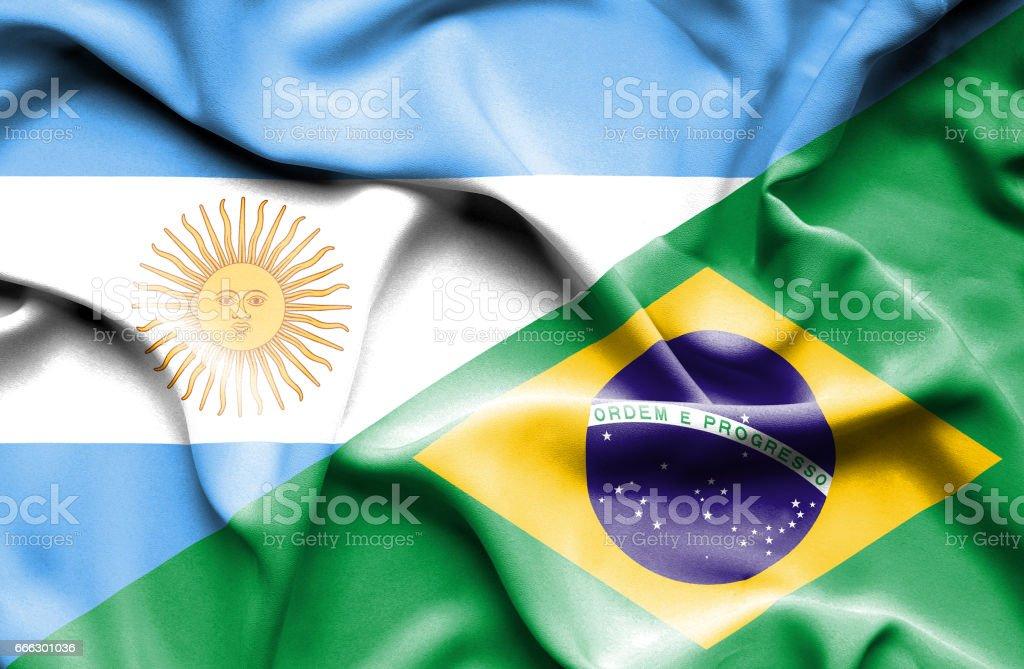 Bandera de Brasil y Argentina - foto de stock