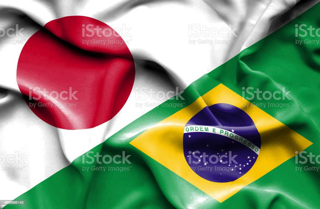 Waving flag of Brazil and Japan foto stock royalty-free