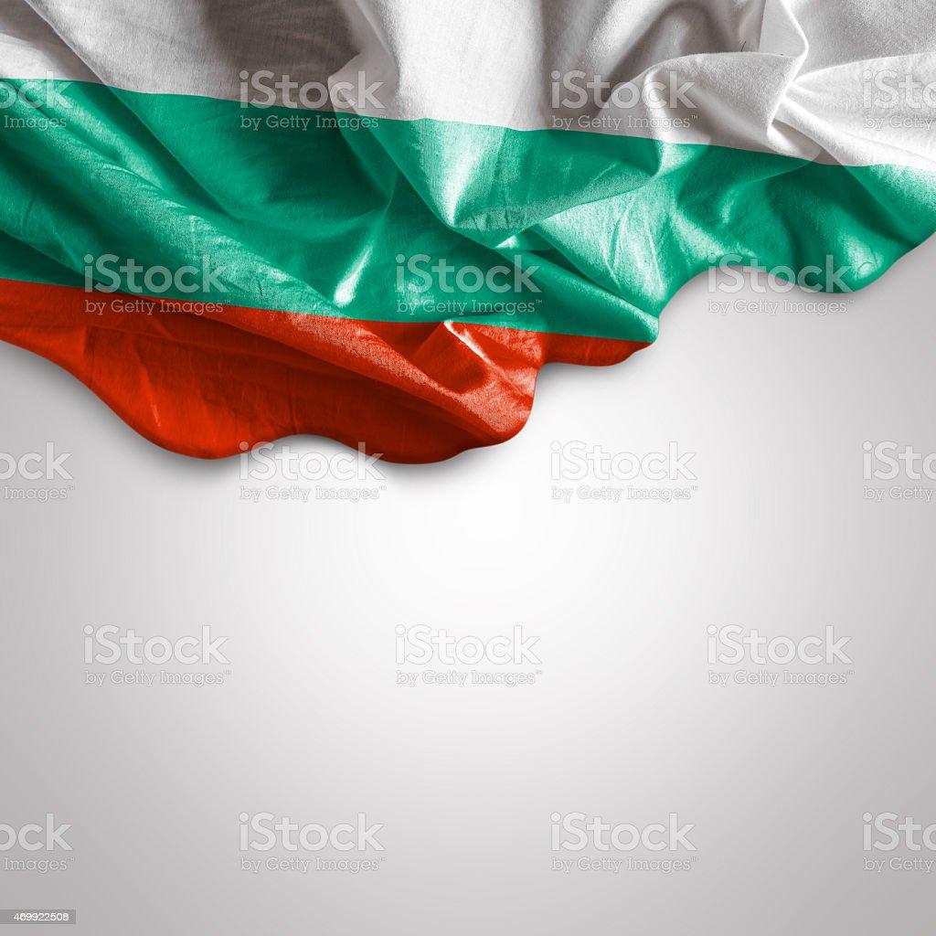 Waving flag of Bulgaria stock photo