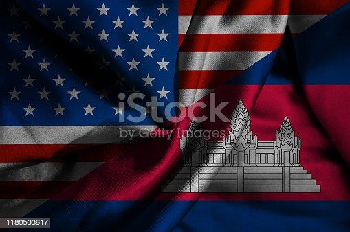 Waving flag of Cambodia and USA