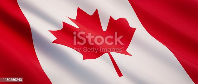 Illustration of a waving national flag Canada