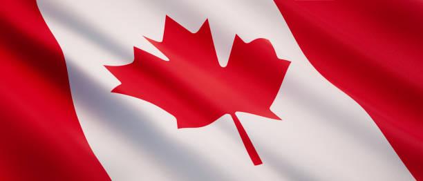 Ondeando la bandera de Canadá - foto de stock