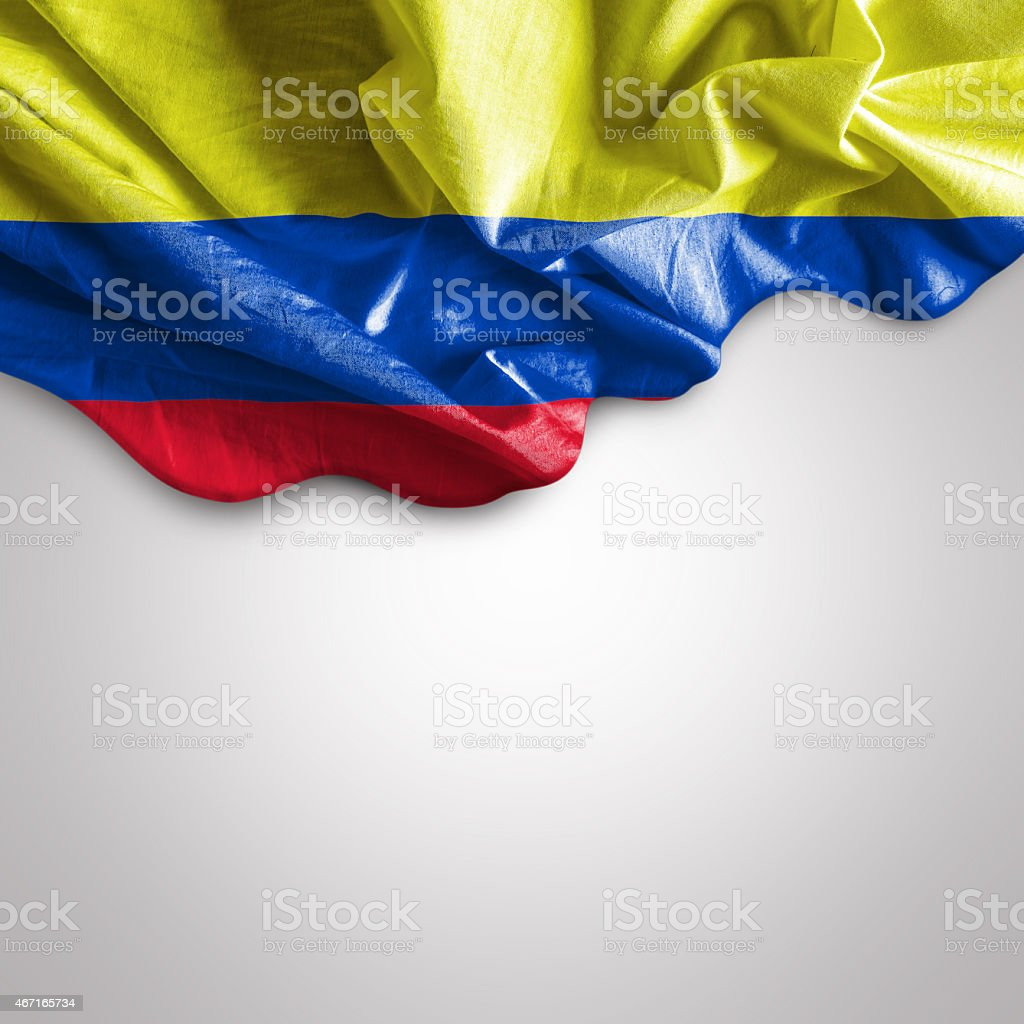Waving flag of Colombia, South America stock photo