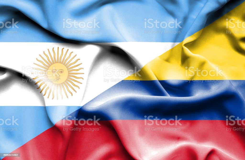 Bandera de Colombia y Argentina - foto de stock