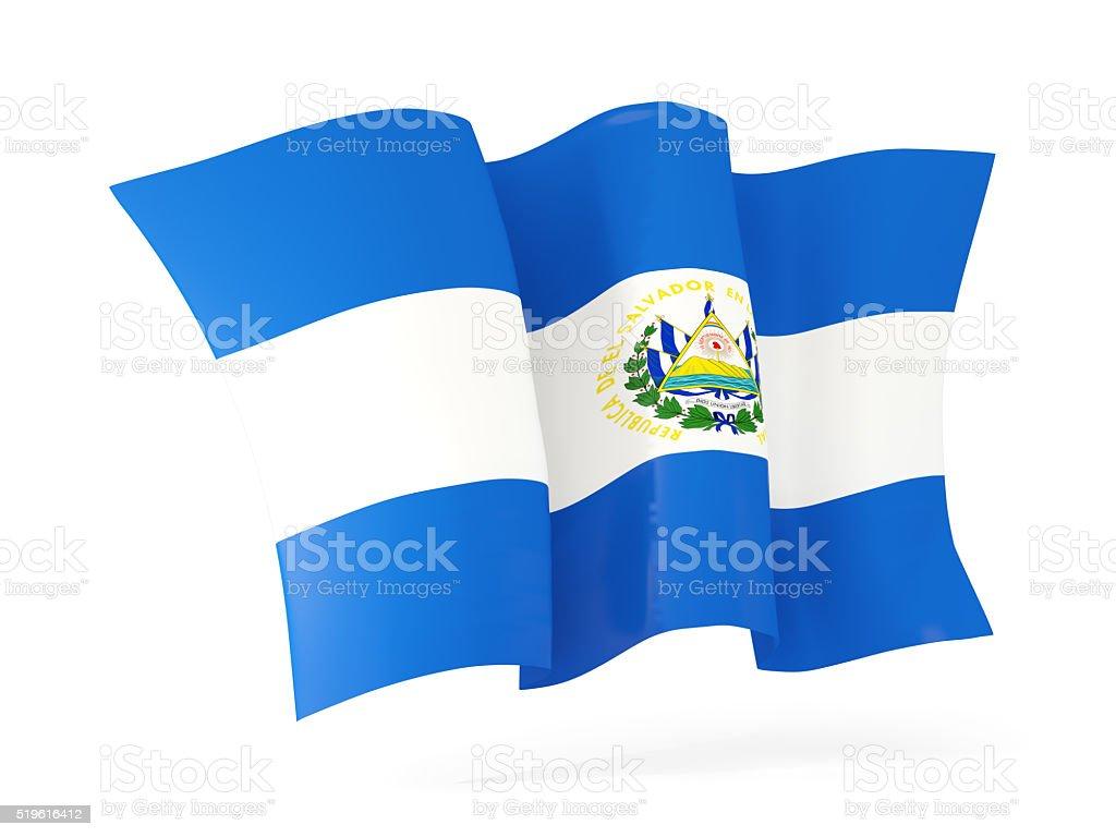 Waving flag of el salvador. 3D illustration stock photo