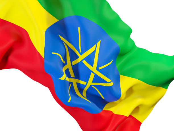 waving flag of ethiopia - ethiopian flag stock photos and pictures